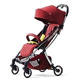 SJZC Kinderwagen Kombikinderwagen Schaukel Taschenschirm Warenkorb Leichtgewicht Babyschale,Red