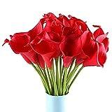Lumanuby 10 Stück Kunstblumen Künstliche Calla-Lilien Blumen Artificial PU Blumen Sträuße Für Home Tisch Hochzeit Party Treffen Room Dekoration,Rote