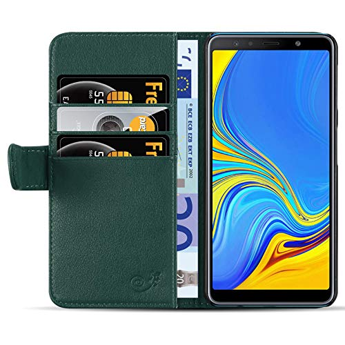 JAMMYLIZARD Lederhülle für Samsung Galaxy A7 2018 | Ledertasche [ Classic Wallet Tasche Series ] Leder Book Case Hülle Flip Cover Schutzhülle mit Kartenfach, Waldgrün
