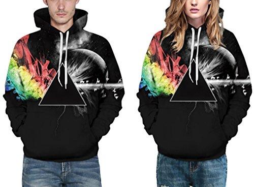 EmilyLe Damen 3D Druck Sweatshirts Weihnachten Pullover mit Cartoon Aufdruck Kapuzenjacke Langarm Top Hoodie Schwarz Dreieck