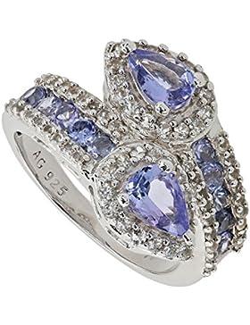 Harry Ivens Damen Ring Sterling-Silber 925 rhodiniert Tansanit AA Weißtopas