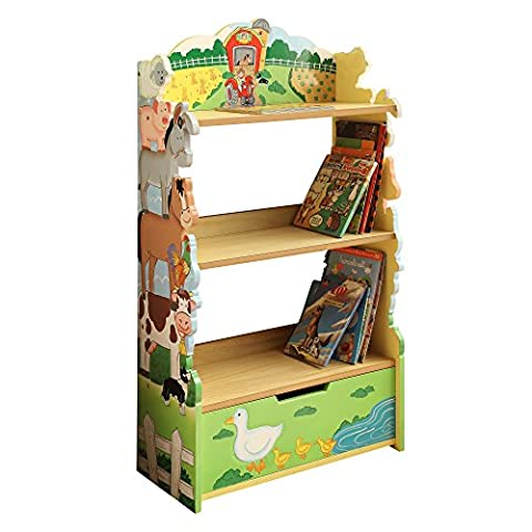 Fantasy Fields - Happy Farm animals themed Green Book Case Kids Wooden Bookcase with Storage Drawer  Hand Crafted & Hand Painted Bookshelf   Child Friendly Water-based Paint