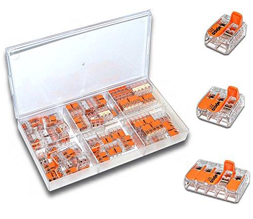 Preisvergleich Produktbild WAGO Klemme 60 Stück Set Sortiment 26x 221-412 | 20x 221-413 | 14x 221-415 in praktischer Klarsichtdose