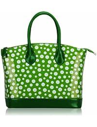 Dames Vert Blanc Patent Polka Dot à pois Designer Mode Sac à main Fourre-tout - KCMODE