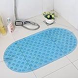 XQXVenta de elipse transparente alfombra de baño con ventosas masaje bañera ducha bañera esteras , blue , 68.5x38cm