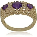 High Quality Amethyst & Diamond Solid 9ct Yellow Gold Ladies Ring - Finger Sizes J to Z Available