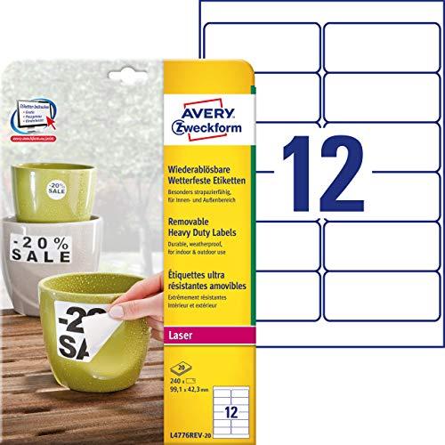 Avery Zweckform L4776REV-20 - Etichette impermeabili, 99,1 x 42,3 mm, 20 fogli per un totale di 240 etichette, colore: bianco