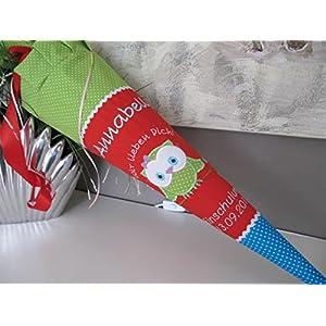 Eule Uhu grün-rot-blau Schultüte Stoff + Papprohling + als Kissen verwendbar