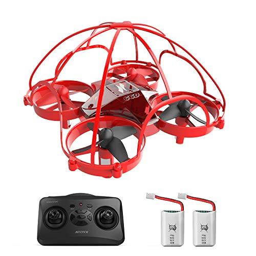ATOYX Mini Drone, AT-66D RC Drone Técnica de Tentetieso, 3D Flips,Una Tecla de Retorno, Altitud Hold, Modo sin Cabeza, 3 Modos de Velocidad, 2 Baterías, Mejor Regalo, Rojo