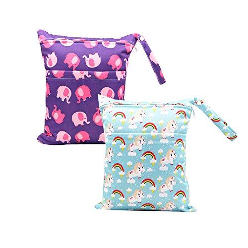 Baby Reisen Windeltasche Minuya Wickeltaschen für Nasse und Trockene Kleidung Reißverschluss Wasserdicht Waschbar Nasstaschen 2 Stück/Set