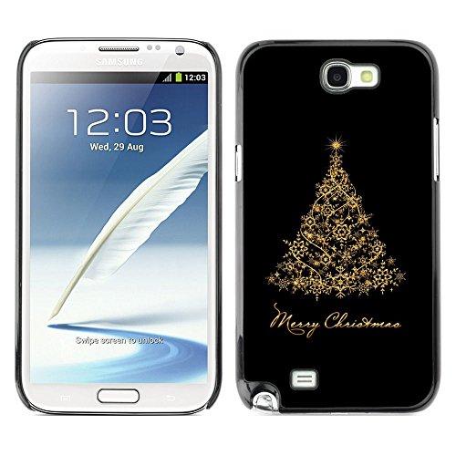 GooooStore/Dura Custodia Rigida della copertura della cassa - Christmas Holidays Black Gold Tree - Samsung Galaxy Note 2 N7100
