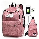 2PCS / gesetztes Mann-Frauen-Laptop-Beutel USB-Rucksack + Kasten-Satz 14.1Inch Laptop-Notizbuch-Rucksack-Spielraum-Segeltuch-Schule-Rucksack (pink)