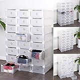 SWEEPID - 12 scatole porta scarpe in plastica trasparente, pieghevoli e impilabili, ideali per il fai-da-te, Plastica, trasparente, 24 pezzi