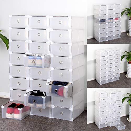 SWEEPID Lot de 24 boites a tiroir Rangement de Chaussure Transparente Pliable et Penderie Etagère à Chaussures Modulable DIY empilable Robustes (24X)
