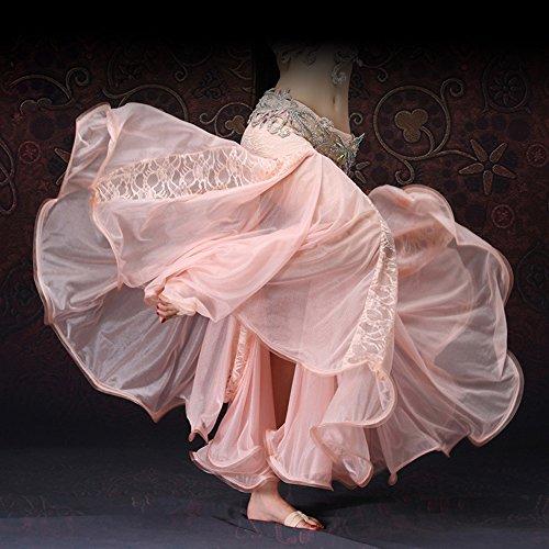 Kostüm Tanz Indische - Xueyanwei Professionelle Lady Bauchtanz Kostüme Indisch Tanz Kleid Halb Rock Tanzwettbewerb Performance Dress,Pink,L