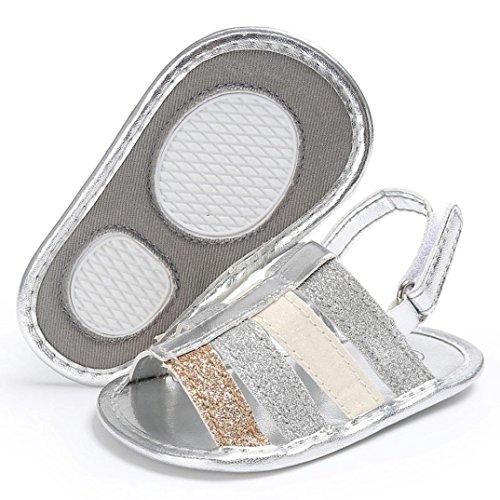 Baby Sandalen, Babyschuhe Longra Baby Mädchen weichen Sohle Krabbelschuhe Kleinkind Neugeborenes Sandalen Sommer Schuhe(0-18Monate) Silver