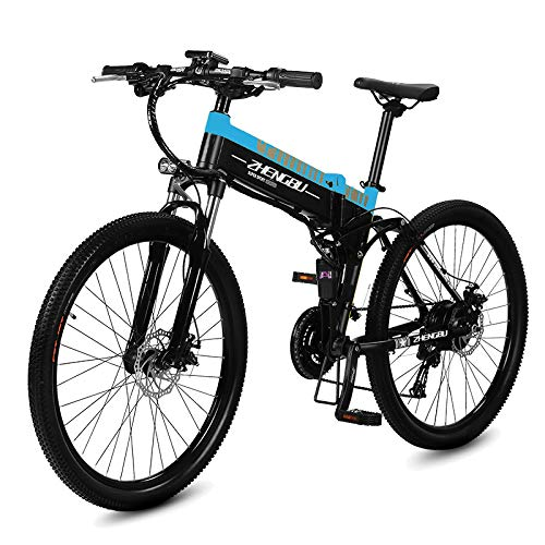 51bcGOfit%2BL. SS500  - MERRYHE Folding Electric Mountain Bicycle 240W 48V 10AH Removable Li-Battery Cruiser Bike 27 Speeds Beach Snow Road Bikes Disc Brakes Full Suspension 26 Inch Tire
