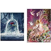 2 Pack 5D Diamant Peinture Art Complet Kits, Fleur De Diamant Reine Elfe et Beauté et La Bête Rose 5D Diamant Art, Kits De Peinture De Diamant Art Artisanat Décoration Murale (30 * 30cm et 30 * 40cm)