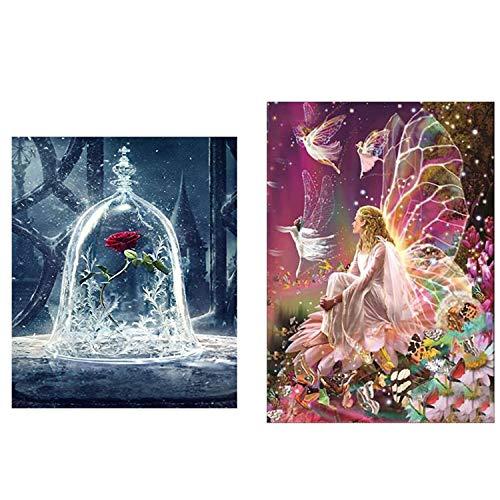 2-teilige DIY 5D Diamant Malerei Kunst kompletter Bohrersatz, voller Diamant Königin Elf und Schönheit und Tier Rose 5D Diamant Kunst, Diamant Malerei Set Art Deco (30 * 30cm und 30 * 40cm)