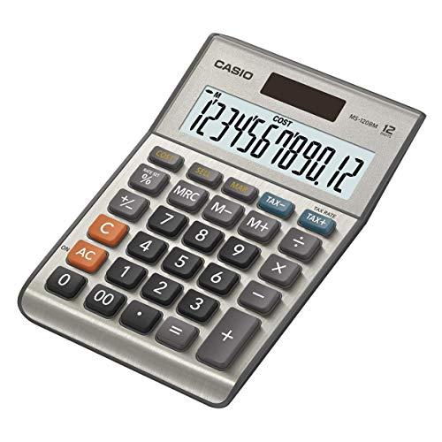 CASIO MS-120BM Tischrechner kompakt mit Metallfront silber, 12-stelliges Display, Steuer-Berechnung, Profit-Berechnung