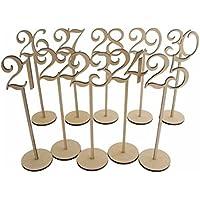 Pixnor 21 a 30 numeri di tavolo in legno con supporto Base per nozze decorazione partito confezione da 10 - Ricevimento Di Nozze Tavolo Decorazioni