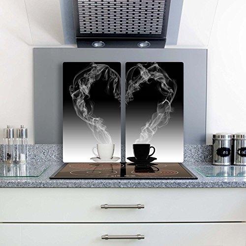 Gsmarkt | Herdabdeckplatten Schneidebrett Spritzschutz Set 2x30x52 | Bild auf Glas | Sicherheitsglas Gehärtetes Glas Bild | Motiv Kaffee