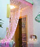 #6: Handloomwala Beautiful Summer Heart 2 Piece Polyester Net Curtain - 7ft, Pink