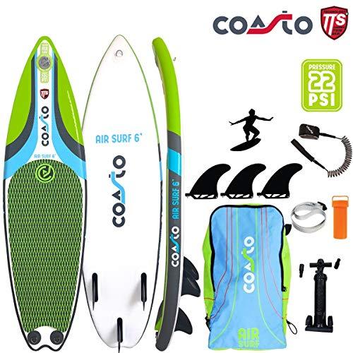COASTO Air Surf 6' Inflatable Surfboard Wellenreiten US-Finnen 180x51x8cm - 6' Air