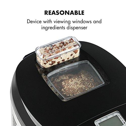 Klarstein Brotilde • Panificadora • Máquina de pan automática • Pantalla LCD • Ventana para ver el proceso • Dispensador de ingredientes • 650 W • Apto para alérgicos • Accesorios • Acero • Plateado
