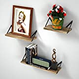 RooLee Wandregal Schweberegal Hängeregal Hängeboards, RooLee 3er Set Wandboards Landhausstil, retro, CD Wandregal Holz vintage/Länge 43/33/23cm (Montage mit Bohren)