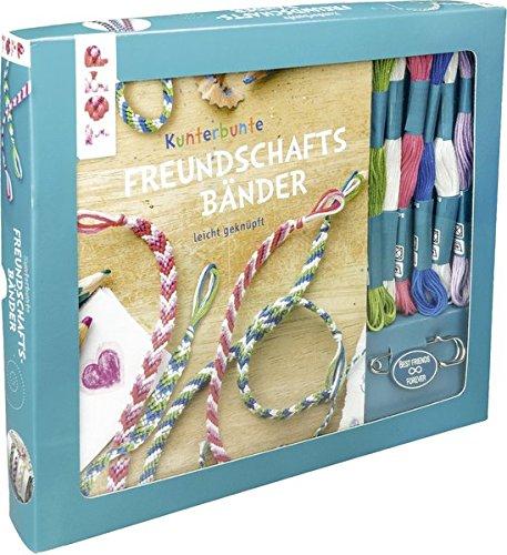 Kreativ-Set Kunterbunte Freundschaftsbänder: Buch mit Knüpfanleitungen, Bändchenhalter und Material für bis zu 6 Freundschaftsbändern (Buch plus Material)