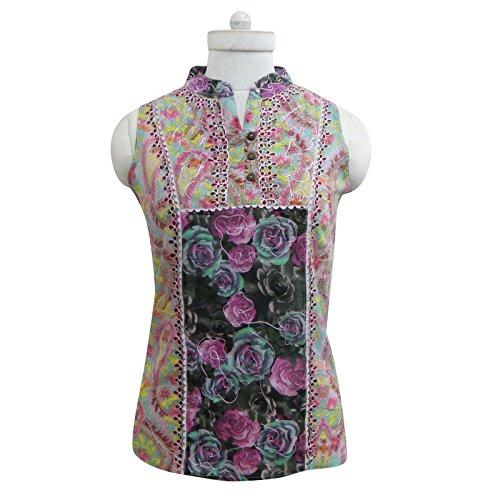 Indian coton sans manches Haut à imprimé floral Chemisier Femmes Kurti Tunique Multicolore