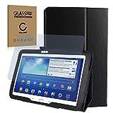 subtel® Smart Case + Panzerglasfolie kompatibel mit Samsung Galaxy Tab 3 10.1 (P5200 / P5210 / P5220) Kunstleder Schutzhülle Tasche Flip Cover Case Etui schwarz