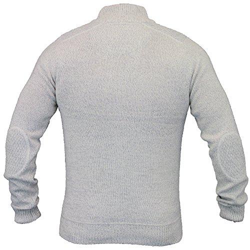Herren Wollmischung Pulli Threadbare Kabel Stricktop Hochkragen Pullover Winter weiß - IMU044PKB