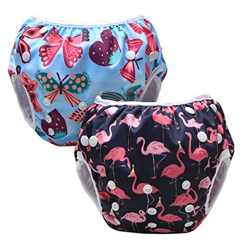 Luxja Riutilizzabile Pannolini da nuoto (Confezione da 2), Costume Pannolino Lavabili, Impermeabile Pannolino Piscina (0-3 anni), Butterfly + Flamingo