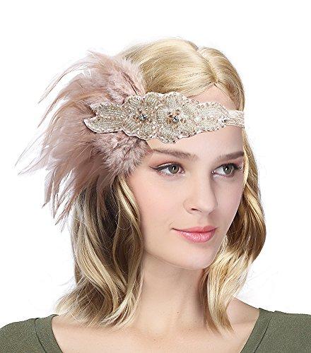 EEVASS Damen Flapper Stirnband mit Feder Kostüm Accessoires (#2 champagner) (Stirnband Champagner)