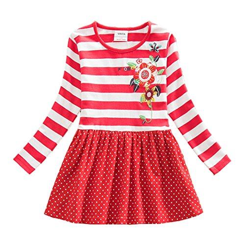 Neat Mädchen Blumen Langarm Baumwolle Kleid 2-8 Jahre LH5908Rot 5T (Kleid Baumwolle Schöne)