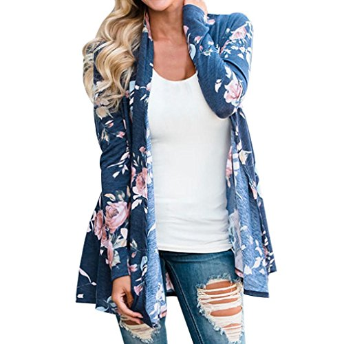 Ronamick Strickjacke Cardigan Strickmantel Damen Floral Jacke vorne offen Kimono Mantel lässig Strickjacke Mantel Outwear Top Bluse (Blau, S) (Strickjacke Plus-offene)