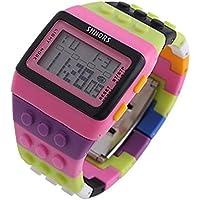 v_esafe Unisex Jungen mädchen LED Regenbogen elektronische sportuhren multifunktionale silikonband armbanduhren Student Geschenk (G)