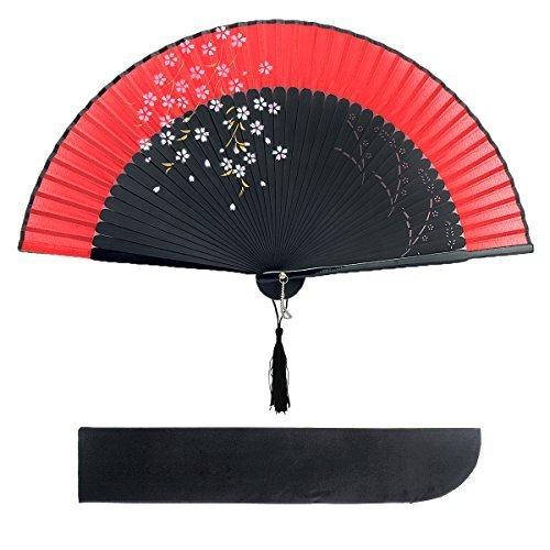 Seta Pieghevole Fan Giapponese Kanagawa Sea Waves Modello bambù Palmare Fan Danza per Cosplay Festa di Nozze Puntelli Home Office Parete Fai da Te Decorazione (Red)