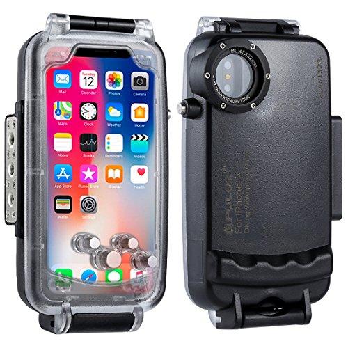 PULUZ 40 m 130 FT Professionelle Wasserdicht iPhone Tauchen Gehäuse, Unterwasser fotografieren Tauchen wasserdichte Schutzhülle für iPhone X/8/7/8PLUS/7plus,iPhone 8/7 (iPhone X, Black)