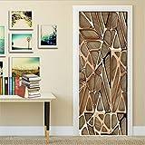 swsongx 3D Sticker Porte Trompe Creative Sticker Peacock Door Wall Sticker DIY Mural Bedroom Home Decor Poster PVC Waterproof Door Sticker Imitation 3D 77X200Cm77x200cm