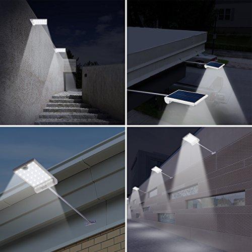 Amir 29 LED Solar Wandleuchte, 4 Modi Solarleuchten Außen, Bewegungs Sensor Licht, Wasserfest Solar Gartenleuchte mit Bewegungssensor, Solar Außenleuchte für Garten Patio, usw. (2 Stück) - 6
