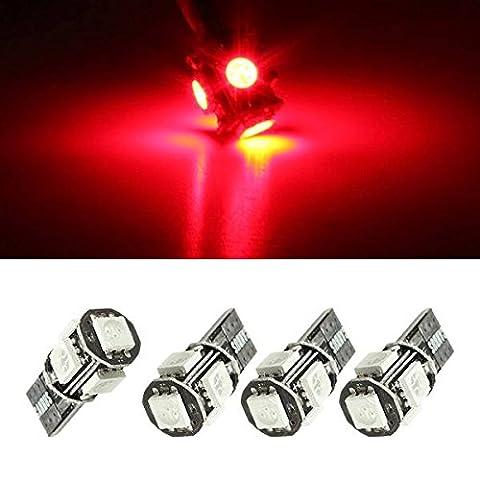 AUDEW 4 x T10 Canbus W5W 5 LED 5050 SMD Auto Véhicule Ampoule Voiture Lampe 194 168 DC 12V Rouge