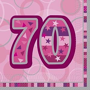 Unique Party- Paquete de 16 servilletas de Papel cumpleaños, Color rosa, edad 70 (28445)