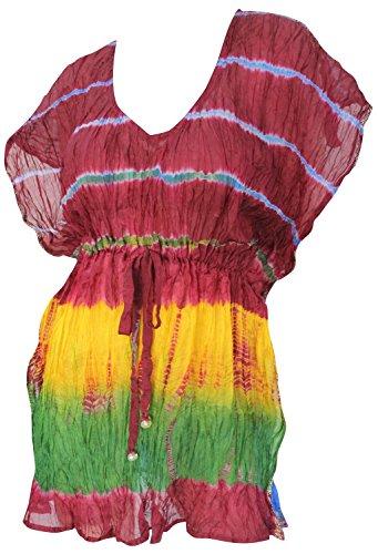 La Leela tye mano seta muoiono strisce orizzontali profondo scollo a V con coulisse costume da bagno Rosso