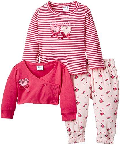 Dirkje Baby - Mädchen, Unterwäsche-Set, 3-pce babysuit, GR. 74 (Herstellergröße : 9 Monate), Rot (aop/cerise)