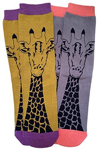 Possum® Damen-Socken Giraffenmuster, weiche Bambus-Baumwoll-Mischung, Geschenkidee Gr. Einheitsgröße, Yellow & Grey (2 Pair Pack) -