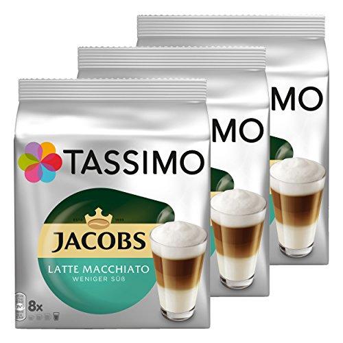 Tassimo Jacobs Latte Macchiato moins sucré, Café, Café au Lait, Capsules de Café, 48x disques (24portions)