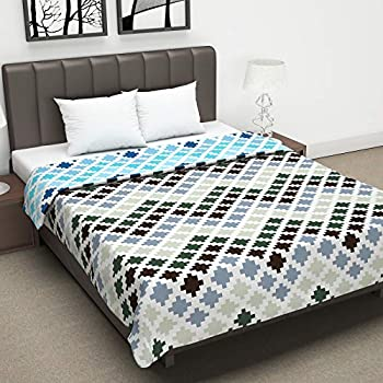 Divine Casa Twilight Abstract 110 GSM Microfiber All Weather Double Dohar - Blue and Brown